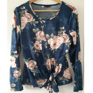 Mercer & Madison Floral Tie Front Top